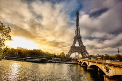 Wall mural Eiffel Tower with boat on Seine in Paris, France