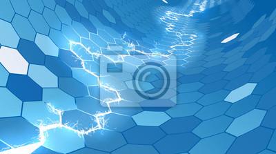 Electric Blue Honeycomb Hexagon Background