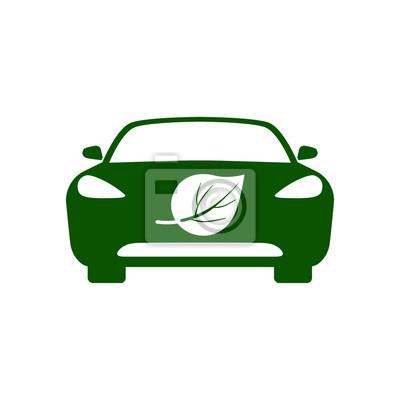 Electric Car Bio Fuel Eco Friendly Vehicle Icon Vector