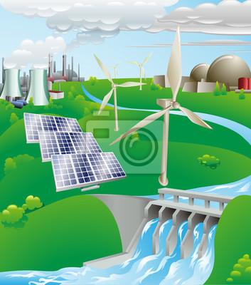 Electricity power generation illustration