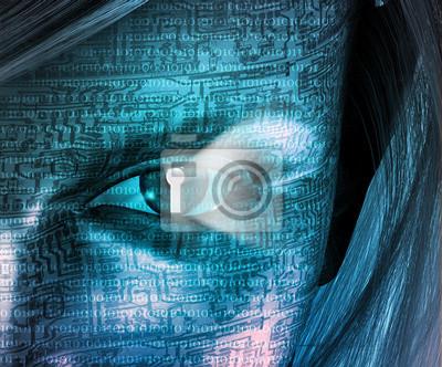 Electronic Woman with Key hole Eye