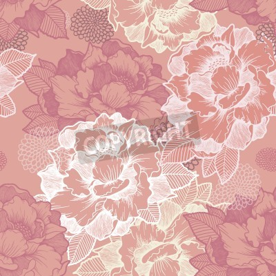Wall mural elegant peony seamless floral pattern background over pink