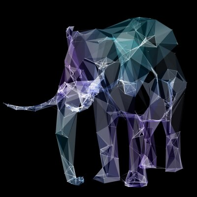 Wall mural Elephant in the polygon design. Digital illustration. Concept
