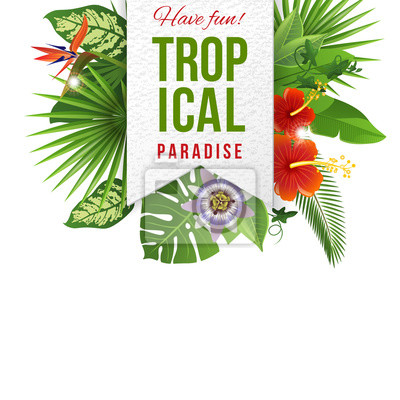 emblem with type design, tropical flowers and plants