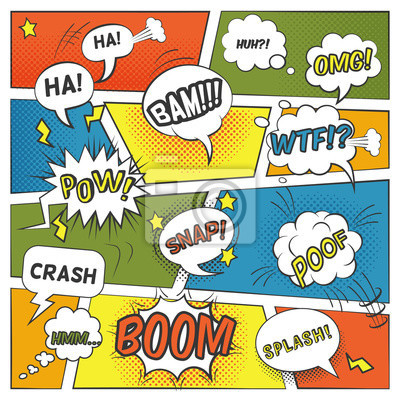 Wall mural Emotional And Sound Comic Bubbles Set