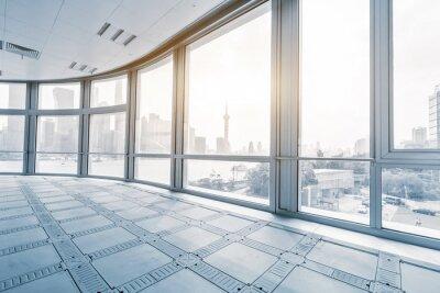 Wall mural empty office room in modern office buildings in sunrise