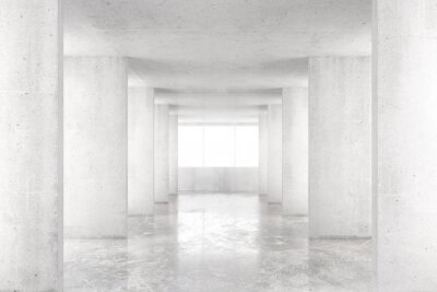 Wall mural Empty room with concrete walls, concrete floor and big window, 3