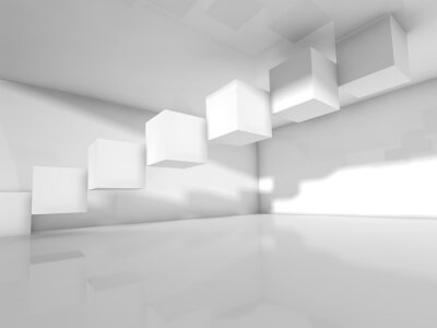 Wall mural Empty white architecture, 3 d illustration