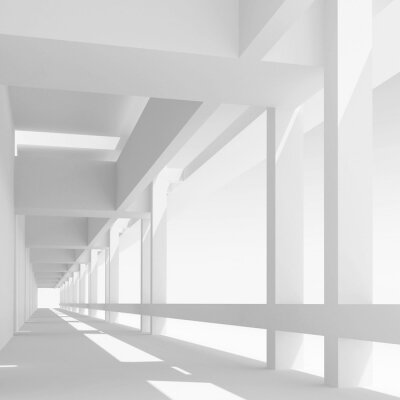 Wall mural Empty white corridor perspective, 3d illustration