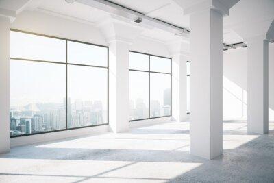 Wall mural Empty white loft interior with big windows, 3d render
