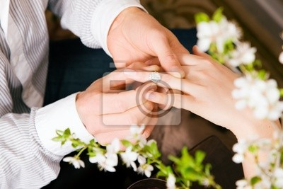 Engagement - man puts the ring on woman