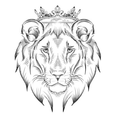 Wall mural Ethnic hand drawing  head of lion wearing a crown. totem / tattoo design. Use for print, posters, t-shirts. Vector illustration