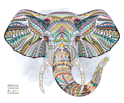 Wall mural Ethnic patterned head of elephant on the grange background/ african / indian / totem / tattoo design. Use for print, posters, t-shirts.