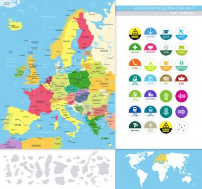 Wall mural Europe detailed political map.Flat icon set