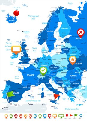 Wall mural Europe - map and navigation icons - illustration.Image contains next layers: land contours, country and land names, city names,water object names, navigation icons.