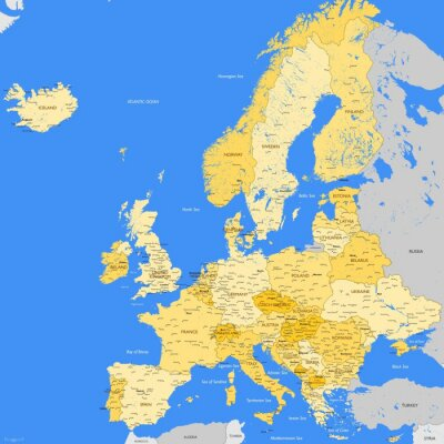 Wall mural Europe map cities