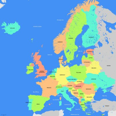 Wall mural Europe map detailed