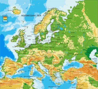 Wall mural Europe - physical map
