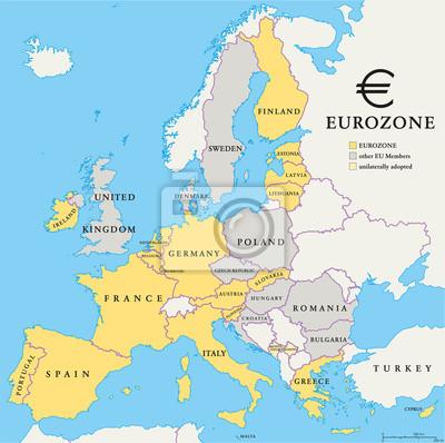 Wall mural Eurozone Countries Map