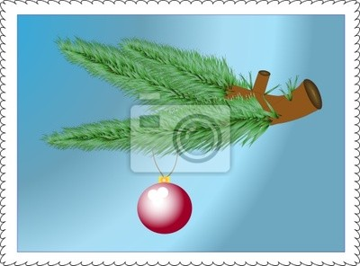 Evergreen branches and bauble decoration  on blue. Vector