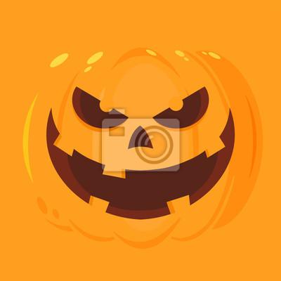 Evil halloween pumpkin cartoon emoji face character illustration