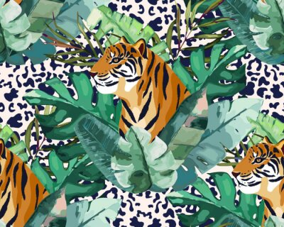 Wall mural Exotic seamless pattern. Tropical leaves and tiger. Vector illustration. Watercolor style