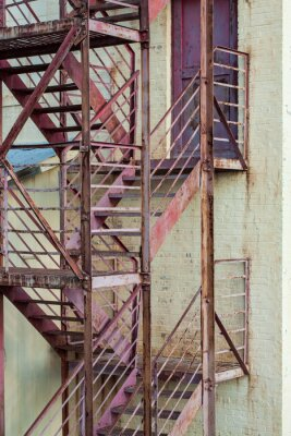 Wall Mural Exterior Fire Escape Stairs On Manufacturing Building