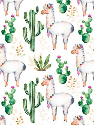 Wall mural exture with high quality hand painted watercolor elements for your design with cactus plants,flowers and lama.For your unique creation, wallpaper, background,blogs,pattern,invitations and more