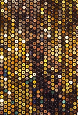 Wall mural Fabric with sequins, turquoise and gold