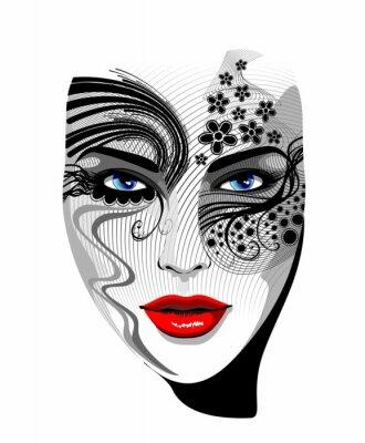 Face Mask Tattoo Girl Tattoo Girl 's Portrait - Vector -