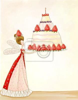 Wall mural Fairy with birthday cake.Birthday cake