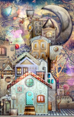 Wall mural Fairytales town with castle and moon