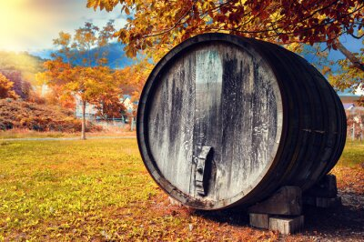 Wall mural Fall landscape with old wooden wine barrel