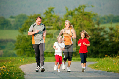 Family jogging in nature