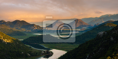 famous bend of the Rijeka Crnojevica river flowing into Lake Skadar in Montenegro
