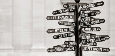 Wall mural Famous signpost to landmarks in Portland, Oregon
