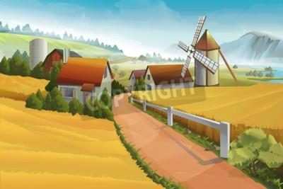 Wall mural Farm rural landscape background