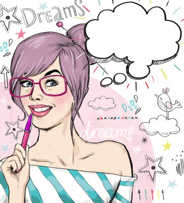 Wall mural Fashion  girl with pen in the hand with speech bubble