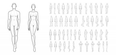 Wall mural Fashion template of 50 men and women.
