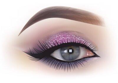 Wall mural Fashion woman eye makeup - detailed realistic illustration, Vector