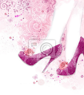 Fashionable high heel women shoes on background with flowers.