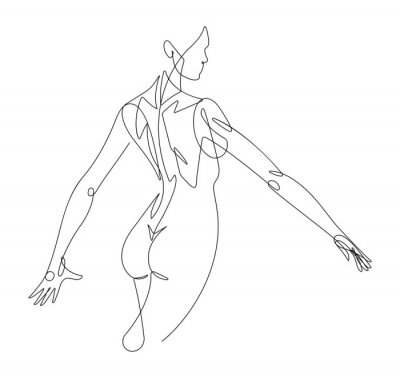 Wall mural Female Figure Continuous Line Vector Graphic VI