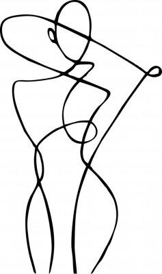 Wall mural Female figure, drawn in one line