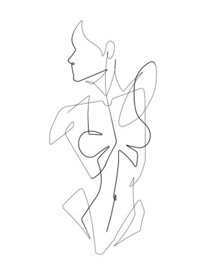 Wall mural Female Figure One Continuous Line Vector Graphic Illustration