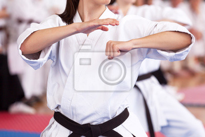 Female karate practitioner body position during training. Martial arts.