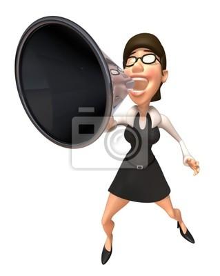 Femme active avec un mégaphone
