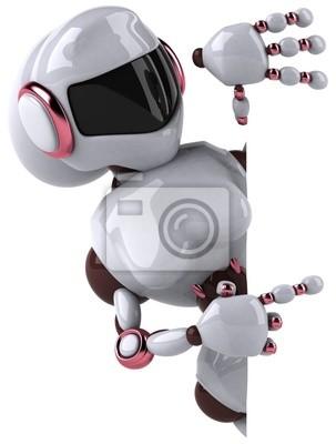 Femme robot et panneau blanc