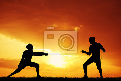 Wall mural fencing at sunset