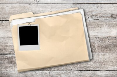 File Folder with documents and blank install photo frame
