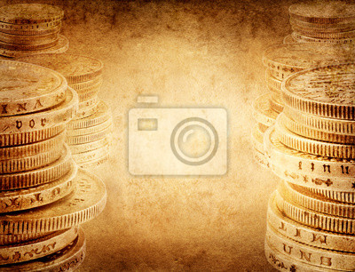 Finance concept. Old silver coins.